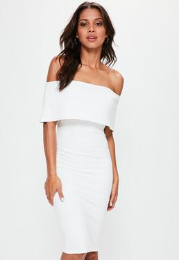 White Cut Out Back Longline Overlay Midi Dress