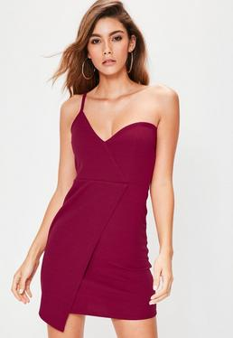 Red Asymmetric Strappy One Shoulder Crepe Mini Dress