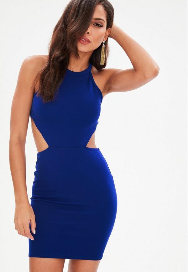 Blue Cut Out High Neck Mini Dress