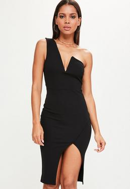Black One Shoulder V Bar Asymmetric Midi Dress