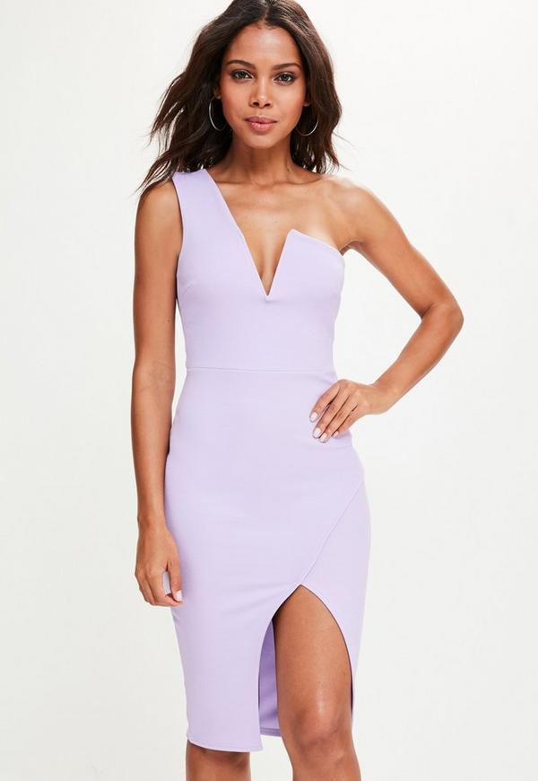 Lilac One Shoulder V Bar Asymmetric Midi Dress