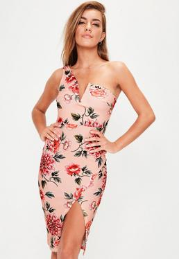 Pink Floral Print One Shoulder Dress
