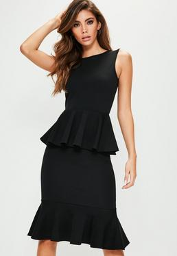 Black Scuba Peplum Plunge Back Midi Dress
