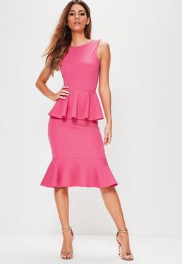 Vestido midi scuba de espalda descubierta con volantes en rosa