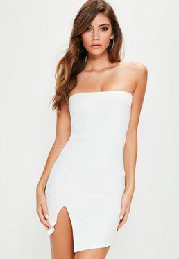 Weißes Scuba Bandeau Kleid