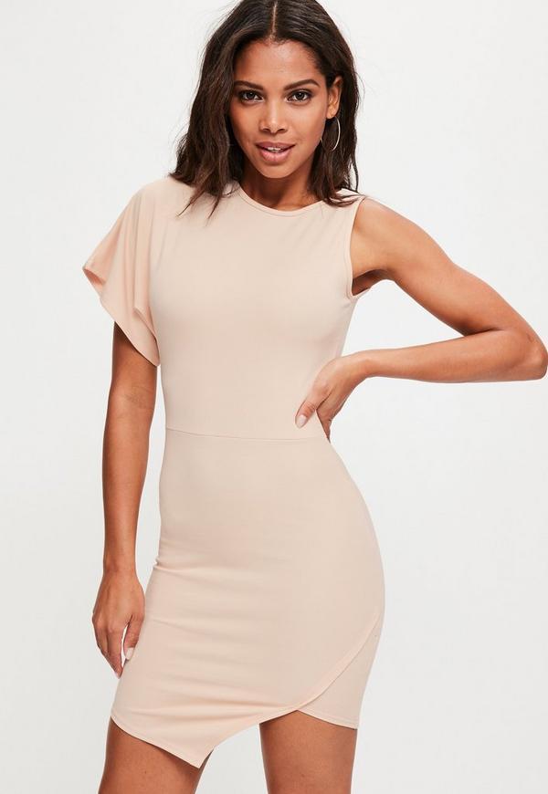 Pink Scuba One Shoulder High Neck Mini Dress