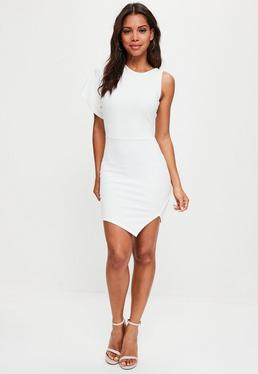 White Scuba One Shoulder High Neck Mini Dress