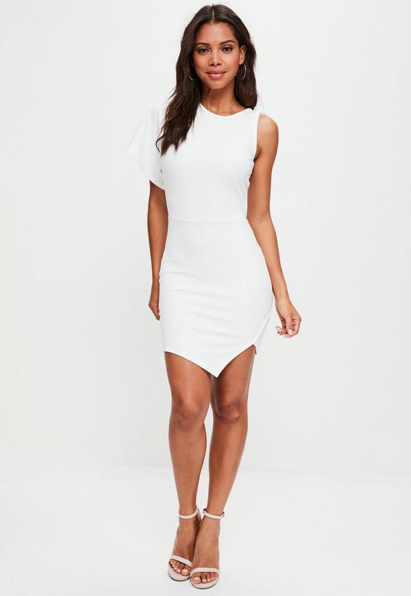 White Scuba One Shoulder High Neck Mini Dress