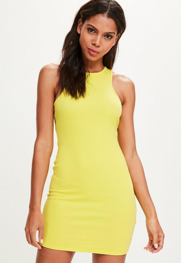 Yellow Racer Neck Mini Dress