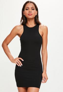 Black Racer Neck Mini Dress