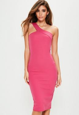 Pink One Shoulder Asymmetric Neck Midi Dress