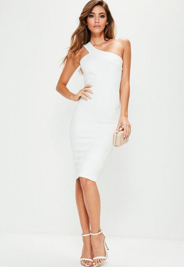 White One Shoulder Asymmetric Neck Midi Dress