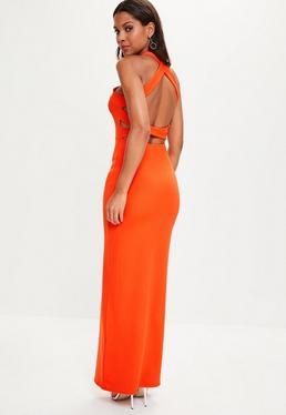 Pomarańczowa sukienka maxi z wycięciami na plecach