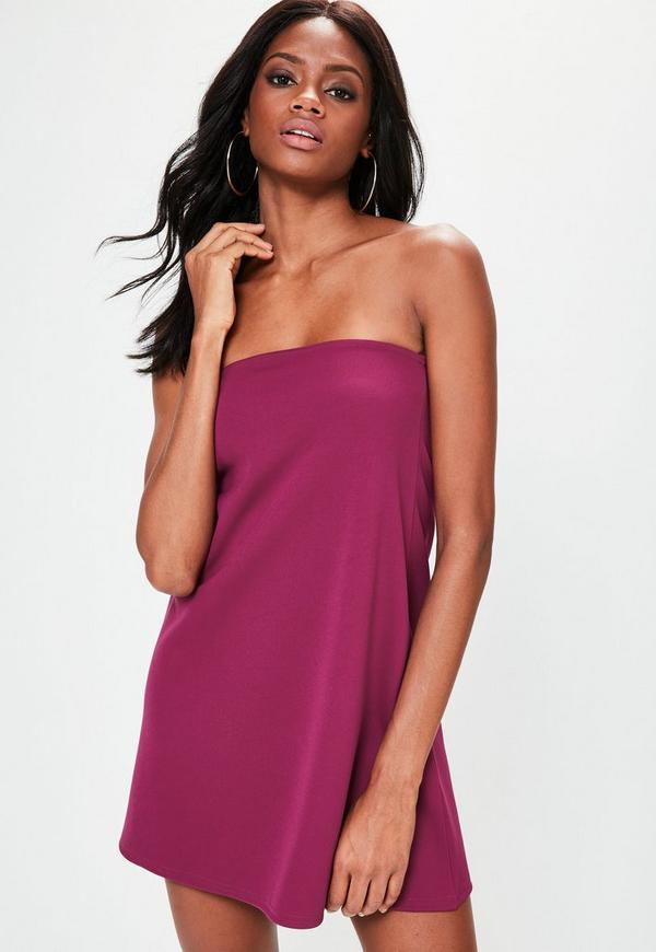 Purple Scuba A Line Bandeau Dress
