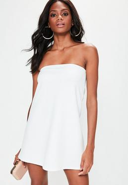 White Scuba A Line Bandeau Dress