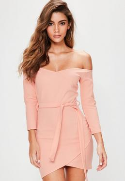 Pink Long sleeve Wrap Front Tie Waist Mini Dress