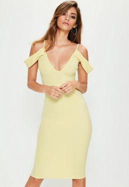 Yellow Frill Sleeve Plunge Scuba Midi Dress