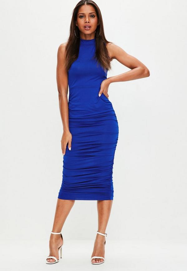 Blue Ruched Side High Neck Midi Dress