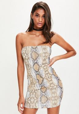 Brown Slinky Snake Bandeau Mini Dress