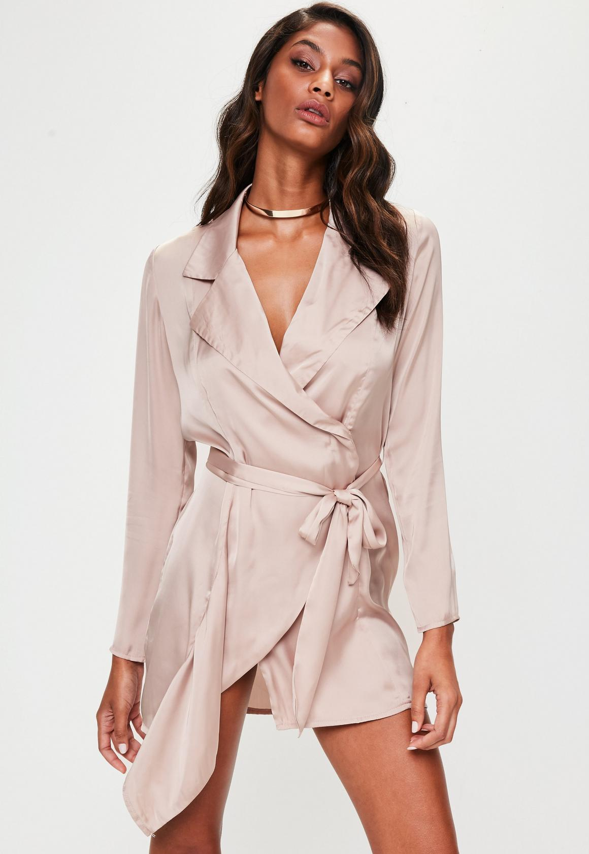 Nude Satin Trench Coat Dress | Missguided