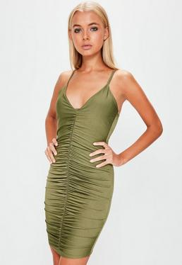 Khaki Slinky Ruched Front Strappy Mini Dress