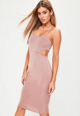 Nude Slinky Cut Out Back Midi Dress