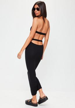 Black High Neck Strap Back Maxi Dress