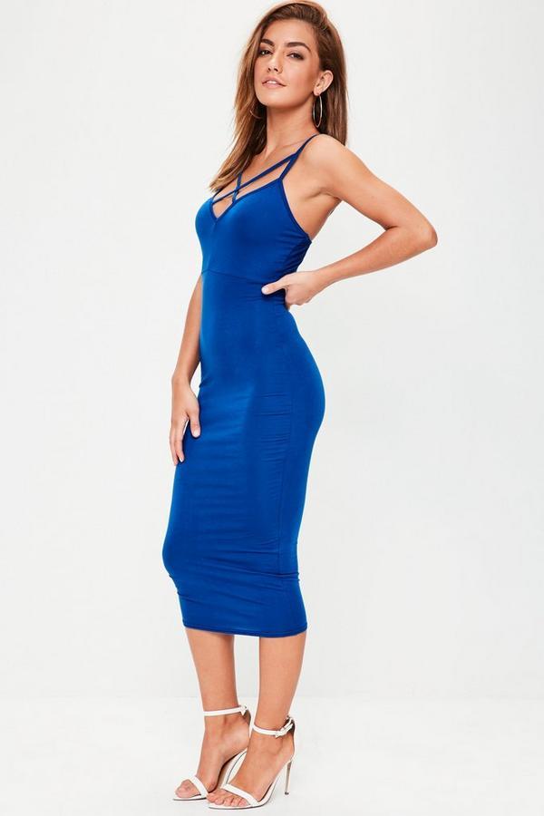 Blue Strap Detail Plunge Midi Dress