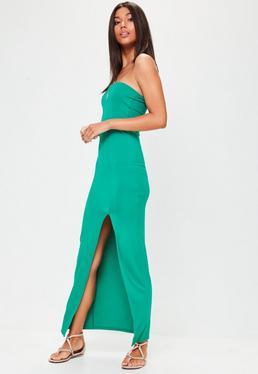 Green Bandeau Split Front Maxi Dress