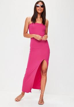 Pink Bandeau Split Front Maxi Dress