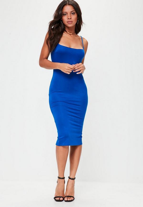 Blue Square Neck Strappy Midi Dress