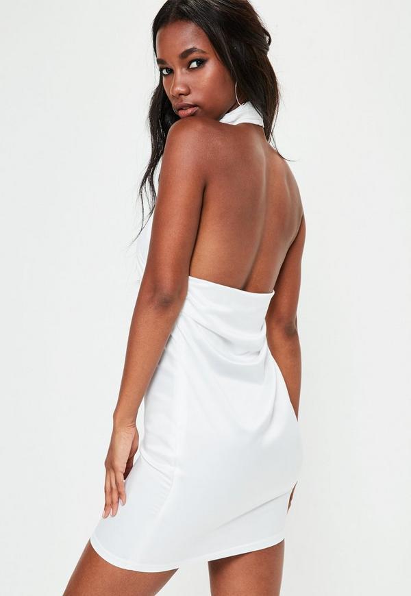 White Satin Drape Back Mini Dress