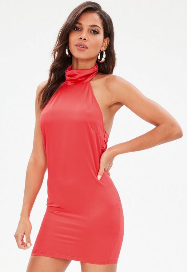 Red Satin Drape Back Mini Dress