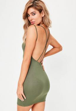 Dopasowana sukienka mini na ramiączkach krzyżowanych na plecach w kolorze khaki