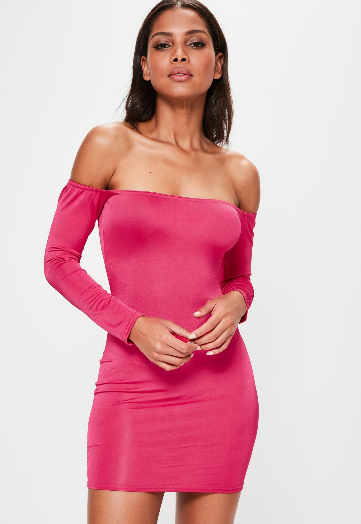 Pink Long Sleeved Dresses - Missguided