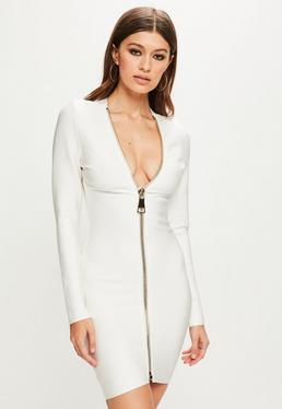 Peace + Love White Long Sleeve Bandage Dress