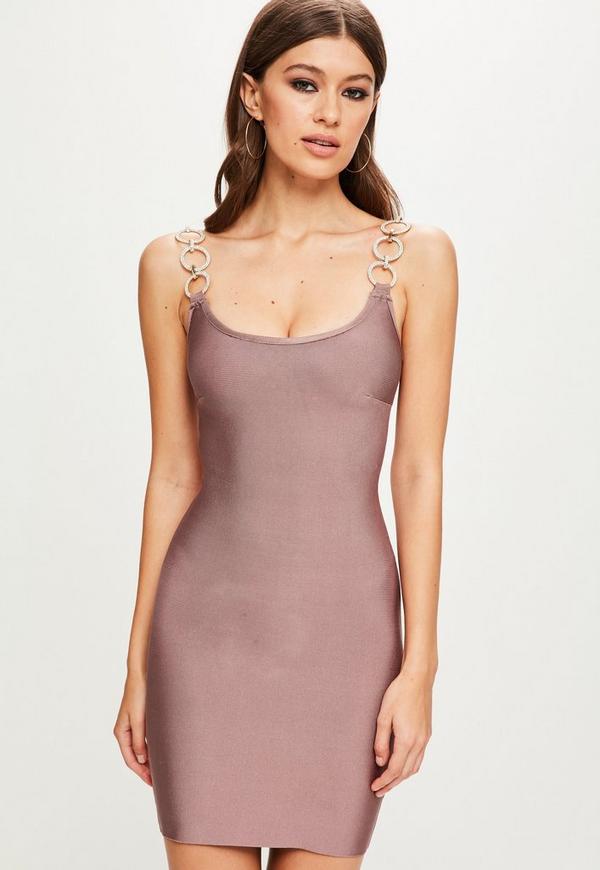 7a41211f41 ... Vestido ajustado bandage con tirantes de brillantes en rosa. Anterior  Siguiente