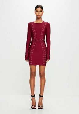 Peace + Love Czerwona bandażowa sukienka z długimi rękawami