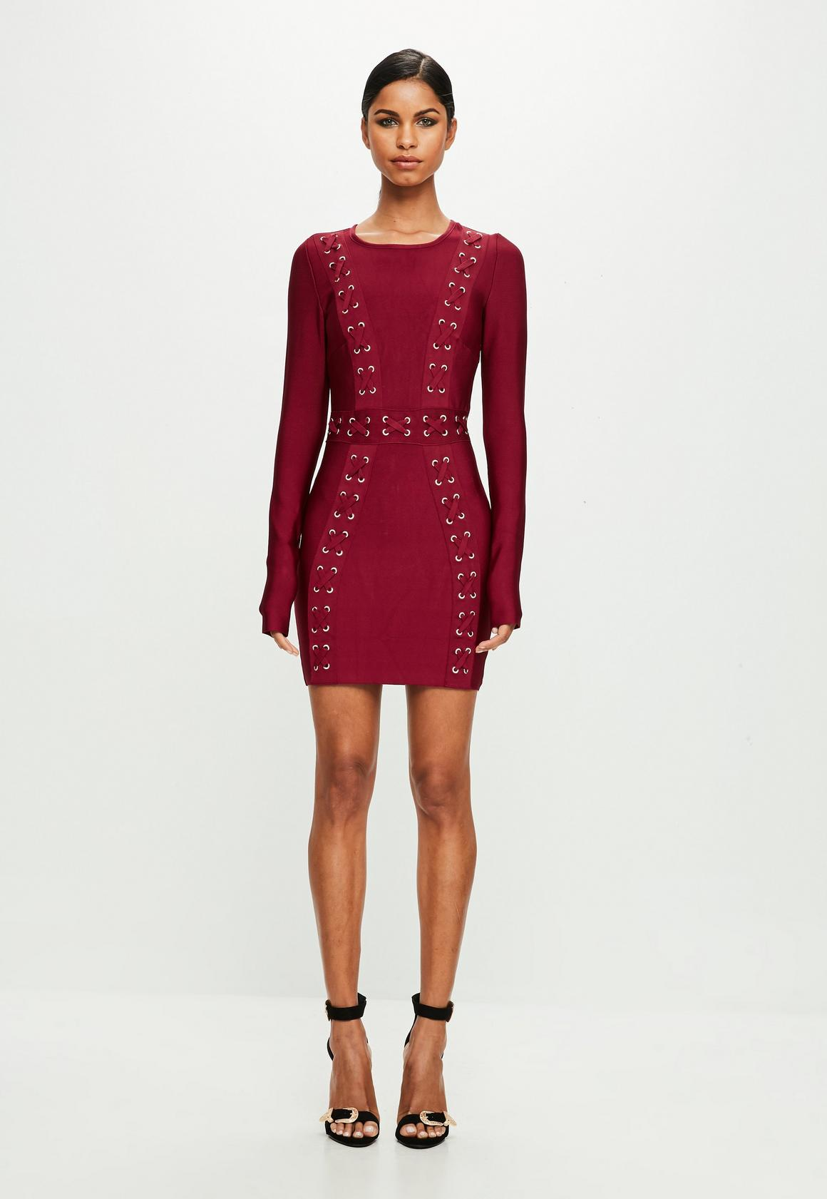 Peace   Love Red Longsleeve Bandage Dress | Missguided