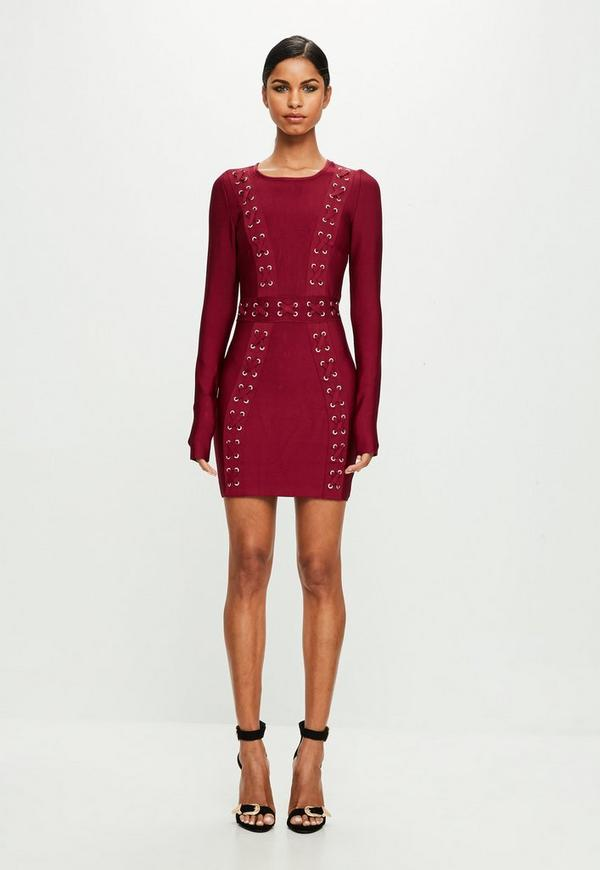 40a5e0fdea Peace + Love Red Longsleeve Bandage Dress by Missguided