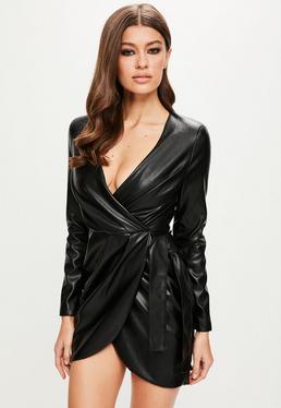 Peace + Love Vestido de cuero sintético con manga larga en negro