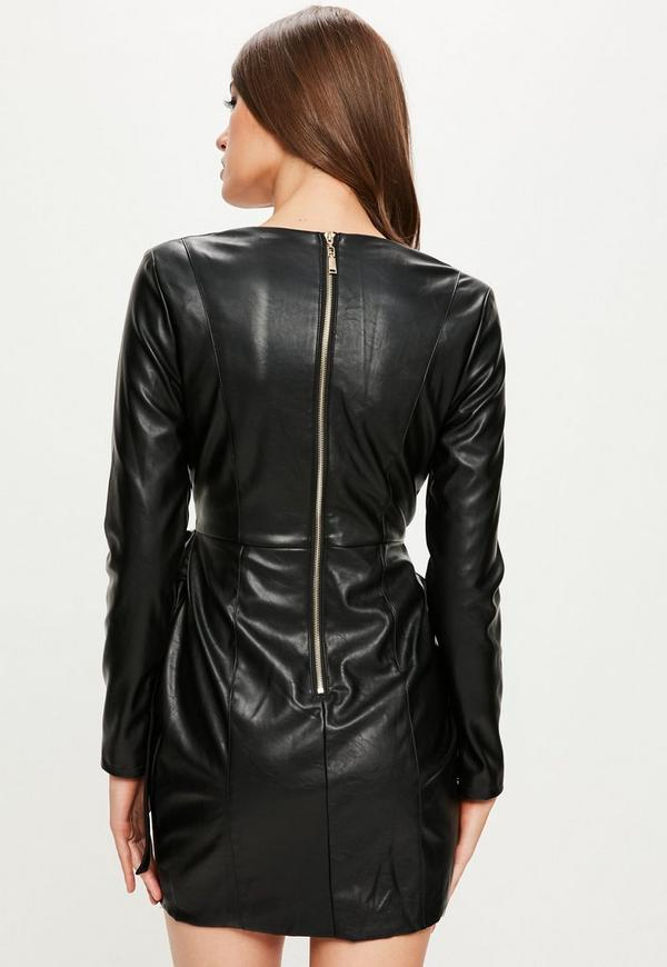 Peace Love Black Long Sleeve Faux Leather Dress Missguided