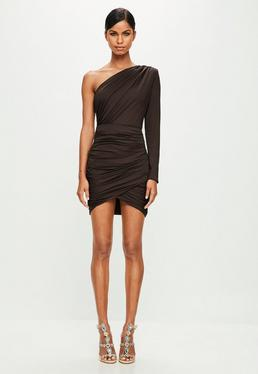 Peace + Love Brown Ruched One Shoulder Bodycon Dress