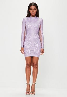 Peace + Love Purple High Neck Bandage Lace Bodycon Dress