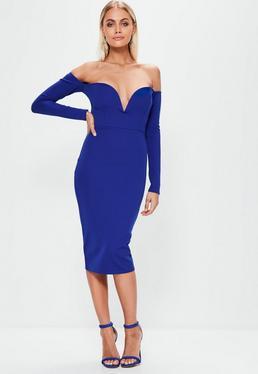 Blue V Bar Bardot Dress