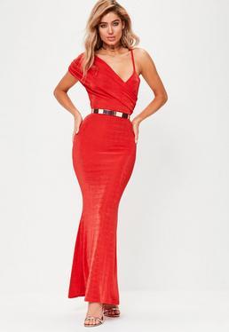 Red Drape Slinky Maxi Dress