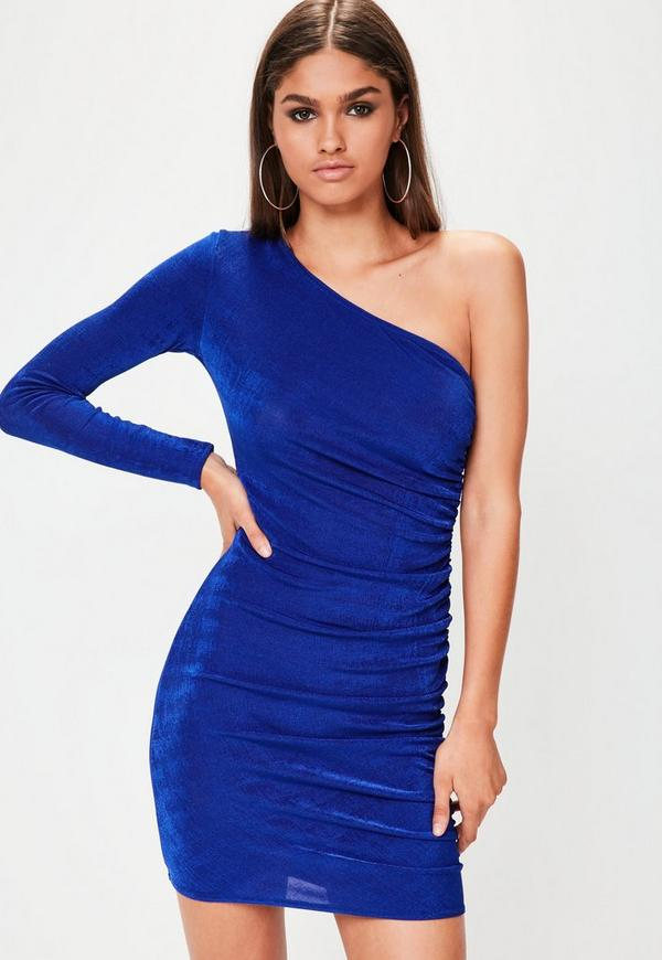 Blue Slinky One Shoulder Bodycon Dress