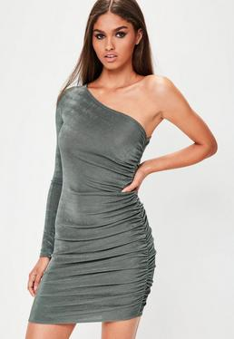 Khaki Slinky One Shoulder Bodycon Dress