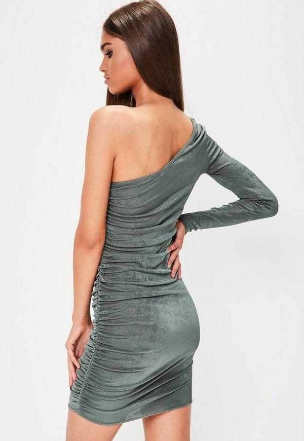 one shoulder gerafftes bodycon kleid in khaki missguided. Black Bedroom Furniture Sets. Home Design Ideas