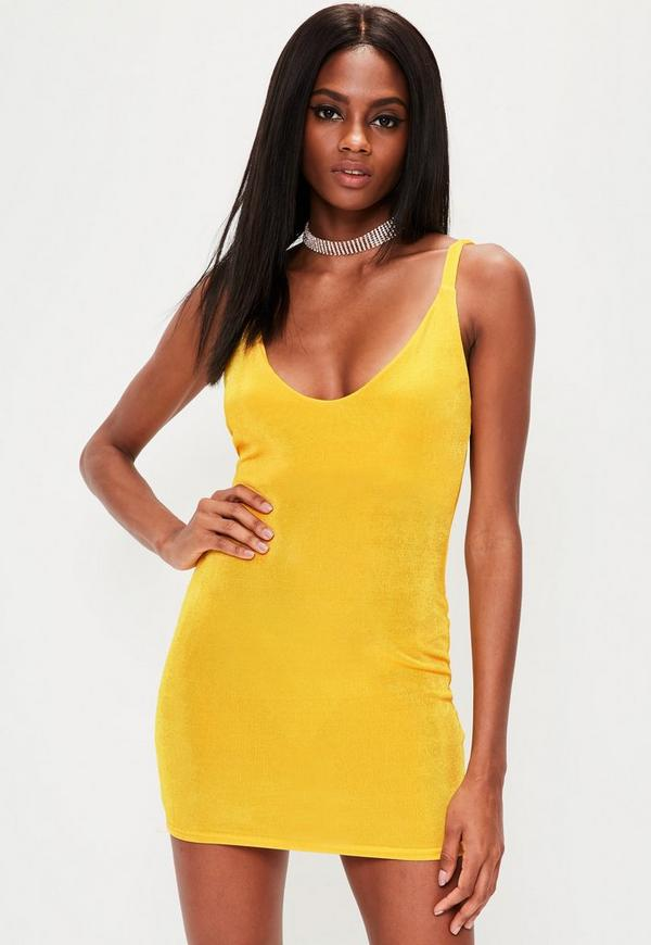 Yellow Slinky Strappy Plunge Mini Dress